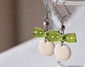 White enamel Earrings - White Dome Charm and green bow - bow jewelry - drop earrings - dangle earrings - bridal jewelry - autumn