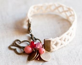 Lace Bracelet - White Lace red and pink glass beads - butterfly bracelet - bangle bracelet - romantic jewelry - blush - Mother's Day Gifts