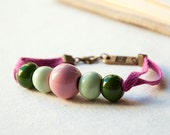 Ceramic Bracelet - Pink and green ceramic beads and pink ribbon -ceramic jewelry - porcelain jewelry - holiday jewelry - emeeme