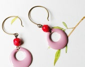 Pink Enamel Earrings - Pink enameled hoop and cherry red glass bead - modern jewelry - dangle - drop earrings