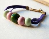 Ceramic Bracelet - Green and Pink ceramic beads and purple ribbon - porcelain jewelry - friendship bracelet