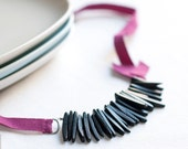 Coconut Necklace - black coconut beads and purple Ribbon - statement jewelry