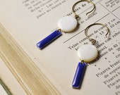 Mother of Pearl  and Enamel Earrings - Mother of Pearl and dark blue enamel - Blue Sapphire - geometric jewelry