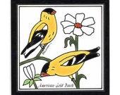 American Goldfinch for Wall Plaque, Kitchen Backsplash or Bathroom Tile by Besheer Art Tile (BRB-10)