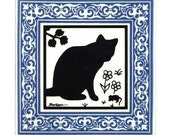 Cat and Mouse Tile with Blue Victorian Border for Wall Plaque, Kitchen Backsplash or Bathroom Tile by Besheer Art Tile (CA-6B)