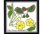 Ruby-Throated Hummingbird Tile for Wall Plaque, Kitchen Backsplash or Bathroom Tile by Besheer Art Tile (BRB-18)