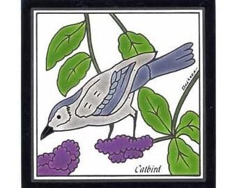 Cat Bird for Wall Plaque, Kitchen Backsplash Tile or Bathroom Tile by Besheer Art Tile (BRB-7)