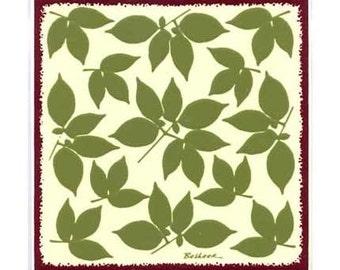 Falling Leaves for Wall Plaque, Kitchen Backsplash Tile or Bathroom Tile by Besheer Art Tile (BB-9)