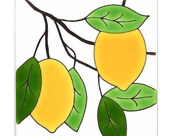 Lemons for Wall Plaque, or Kitchen Backsplash Tile by Besheer Art Tile (178)