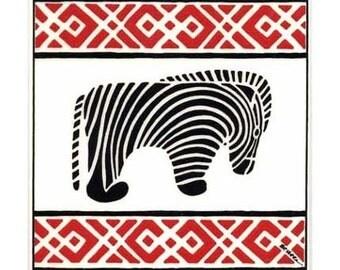 Zebra for Wall Plaque, or Kitchen Backsplash Tile by Besheer Art Tile (AF-9)