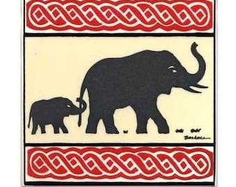 Elephant for Wall Plaque, or Kitchen Backsplash Tile by Besheer Art Tile (AF-12)