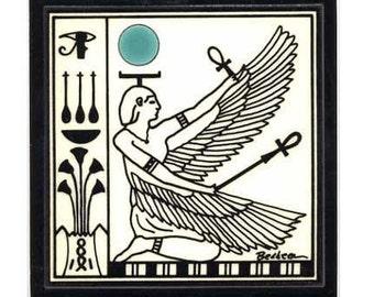 Winged Isis for Wall Plaque, or Kitchen Backsplash Tile by Besheer Art Tile (EG-3)