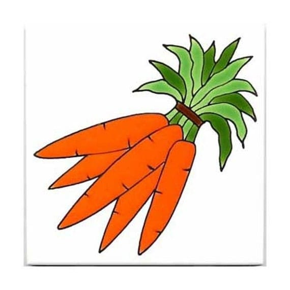 Carrots Tile for Wall Plaque, or Kitchen Backsplash by Besheer Art Tile (162)