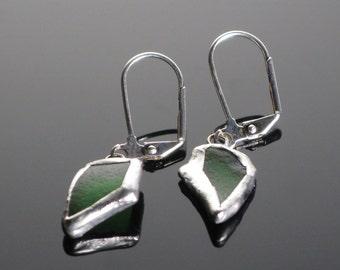 Green Beach Glass Earrings
