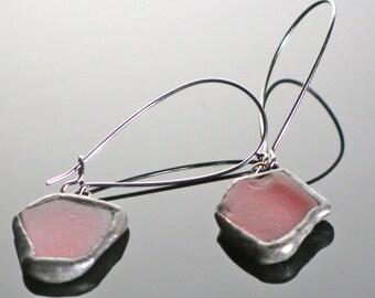 Red Beach Glass Earring on gunmetal kidney ear wires.