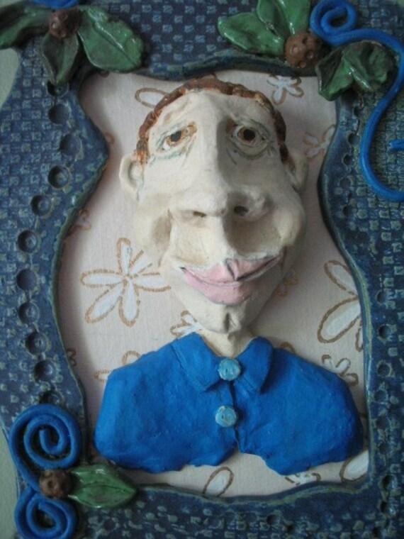 clay folk art pottery sculpture family portrait