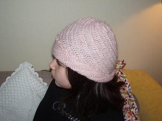 Angora Diagolal Pink  Hat