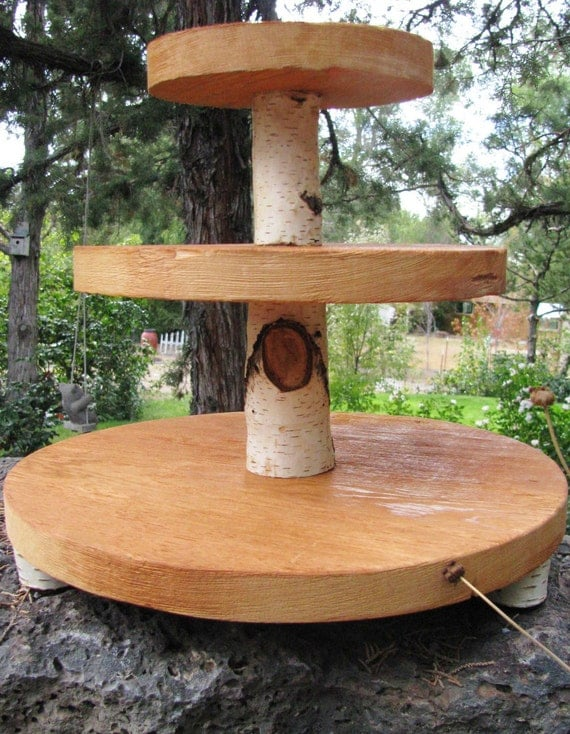 etsy wedding cake stand wood slab wedding cupcake stand 3 tiers 14049