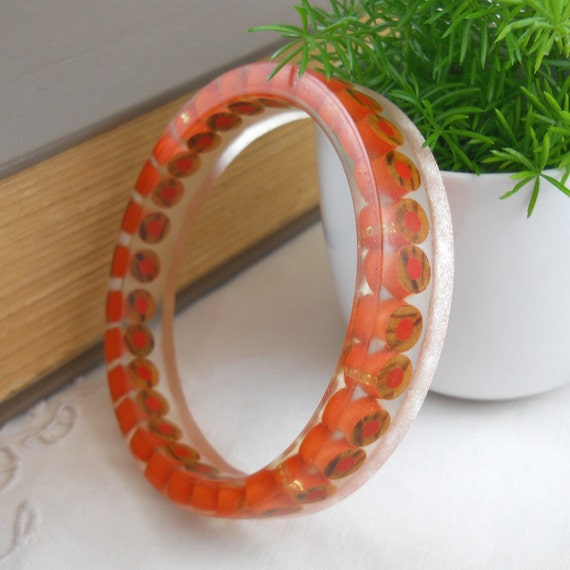 Resin Bangle - Resin Bracelet - Colored Pencil - Bangle Bracelet - Cuff Bracelet - Resin - Bangle - Teacher - Color Pencil - Pencil - Orange
