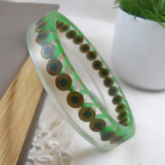 Resin Bangle - Resin Bracelet - Colored Pencil - Bangle Bracelet - Cuff Bracelet - Resin - Bangle - Teacher - Color Pencil - Pencil - Green