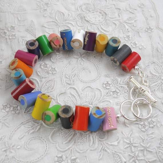 Bracelet - Colored Pencil - Adjustable Bracelet - Charm Bracelet - Toggle - Womens Bracelet -Teacher - Multi Color Rainbow - 34