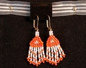 Orange and White Beaded Earrings - andreagoo