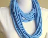 Baby Blue Tshirt Scarf Necklace - Handmade Recycled Eco Friendly Tee Shirt Jersey