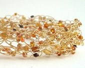 Golden Toasted Coconut - Handmade Wire Crochet Necklace