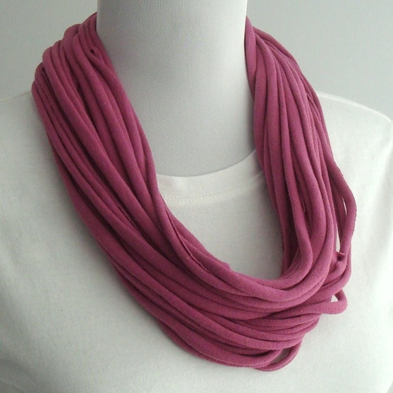 Recycled T-shirt Scarf Necklace Subtle Plum Handmade Eco Friendly