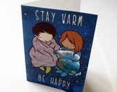 Set of 5 Holiday Cards - blank inside - cute - Stay Warm Be Happy