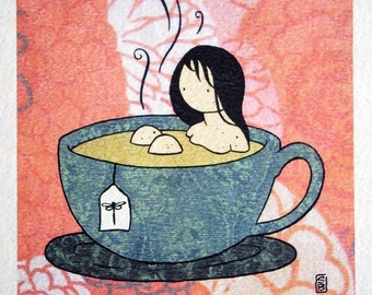 Tea Girl color print on watercolor paper