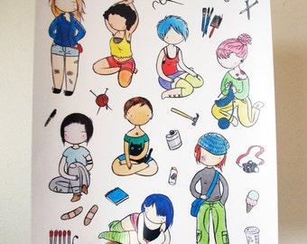 Crafty Girls Sticker sheet - crafty girls with accoutrements