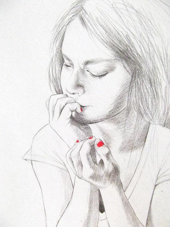 Nail Biter 9x12 pencil and nail polish drawing