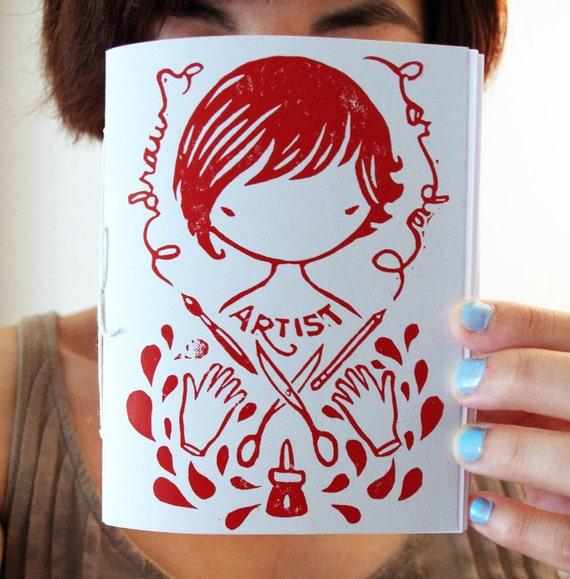 Gray Artist Sketchbook hand bound linocut printed notebook journal