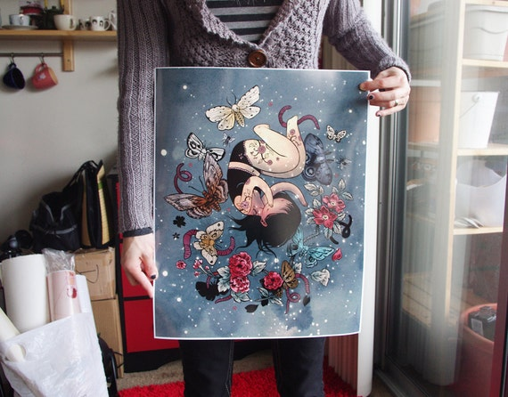 SALE - LAST ONE - Moth Girl 16x20 Lustre Color Print