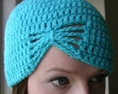 Butterfly Turquoise Blue Crocheted Cloche