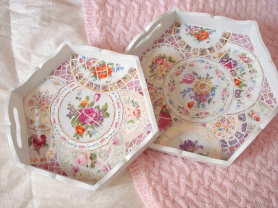 Vintage Broken China Mosaic Pair of Nesting Trays Beautiful Shabby Cottage Roses