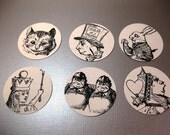 Vintage Alice in Wonderland Stickers Envelope Seals Set of 12 QueenBeeInspirations