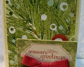 Season's Greetings Vintage Feel Holiday Card and Envelope Seal Made on Recycled Paper