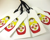 Matryoshka Doll Gift Favor Tags Set of 6 Russian Nesting Doll QueenBeeInspirations