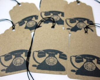Eco Friendly Gift Tags Set of 6 Vintage Retro Telephone QueenBeeInspirations