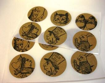 Vintage Alice in Wonderland Stickers Envelope Seals Set of 12 Kraft Paper
