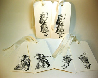Vintage Alice in Wonderland Gift Tags Set of 6 Alice White Rabbit Queen of Hearts QueenBeeInspirations