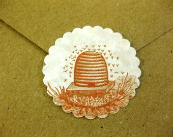 Vintage Bee Skep Stickers Eco- Friendly Envelope Seals Set of 24