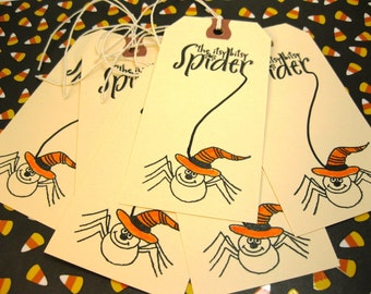 Halloween Hang Tags Itsy Bitsy Spider Set of 6 Treat Bag Tags QueenBeeInspirations