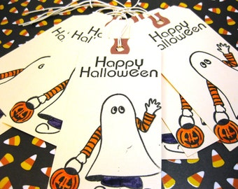 Halloween Hang Tags Trick or Treater Ghost with Pumpkin Treat Bag Tags Set of 6 QueenBeeInspirations