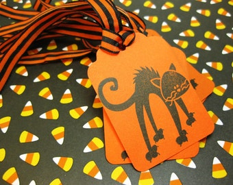 Halloween Tags Set of 6 Scaredy Cat Trick or TreatersQueenBeeInspirations QueenBeeInspirations