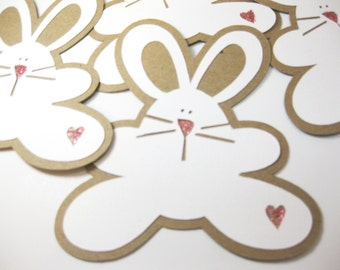 Bunny Handmade Embellishments or Tags Set of 6 QueenBeeInspirations