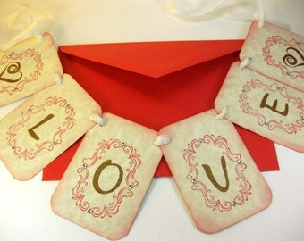 Love Garland Wedding Home Decor Banner Bunting Keepaske Valentine's Day Banner Unique Greeting Card