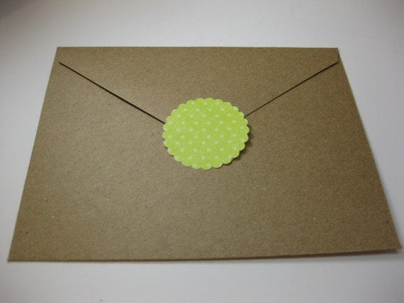 Envelope Seals Stickers Green and White Polka Dot QueenBeeInspirations